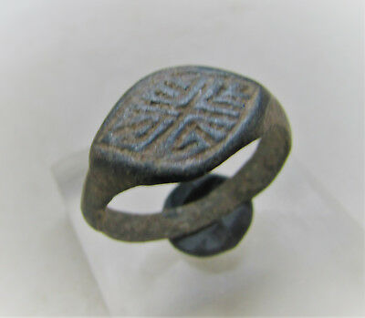 Roman Period Bronze Signet Ring With Decorative Bezel Nice Condition