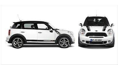 Mini Cooper Clubman Countryman Hood Rocker Side Stripes Graphics Vinyl Decals