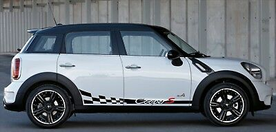 Mini Cooper Clubman Countryman Side Checkred flag Stripes Graphics Vinyl Decals