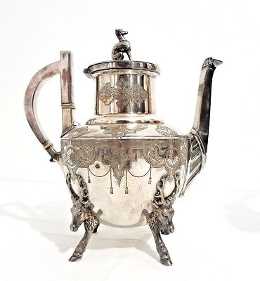 "Rogers & Bro. ""1874"" Quadruple-Plated Hunting Motif Coffee/Tea Pot Waterbury, CT"