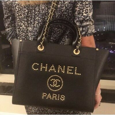2fb76cadfd4c NWT Chanel Gold Studded Deauville Shopping Tote 18k Large Grained Black  Caviar