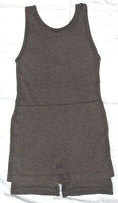 antique NOS 1920s men's wool bathing suit brown wool knit S - M, amazing cond.