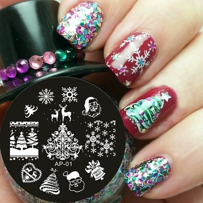 PIASTRA NATALE CHRISTMAS SNOW NAIL ART stamping PLATE manicure STENCIL template