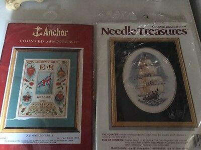 Vintage USA The Voyager Cross Stitch Kit Plus Anchor Sampler Jubilee / Ship