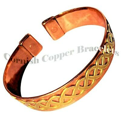 MAGNETIC COPPER BRACELET with BRASS CELTIC TWIST Relief Arthritis MB32 - SMALL