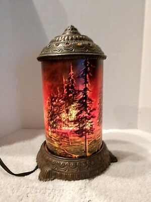 "Rare/antique Lamp -"" Forest Fire "" Scene - In - Action Works"