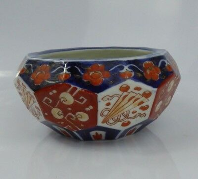 Japanese Antique Imari Multi Faceted Bowl Signed - Meiji porcelain