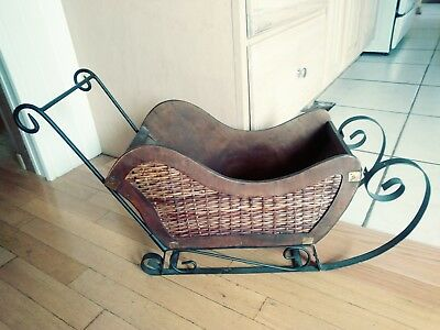 Antique Wood Wicker Metal Decorative Sleigh