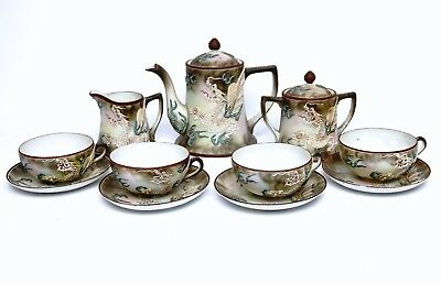 Hand Painted Antique Nippon Moriage Dragonware Coffee/Tea 13 Piece Set Pre 1921