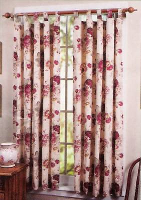 2 Waverly Garden Room Vintage Rose Valances Tab Top Cream Red Floral 60 X14  Pair