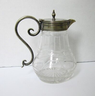 Antique Cut/ETCHED GLASS & Silver-Plate SYRUP/Cream/Creamer/PITCHER with Lid