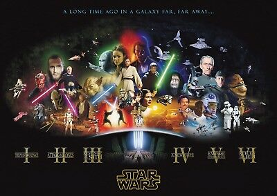 Starwars Movie Cast Wall Art Large Poster Print A0 A1 A2 A3