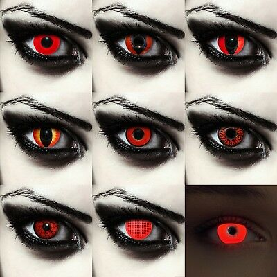 Crazy red colored halloween costume contacts vampire zombie werewolf monster