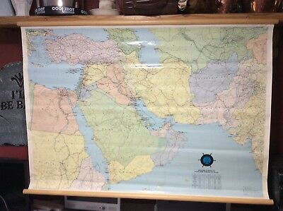 Large wall map of Middle East etc.