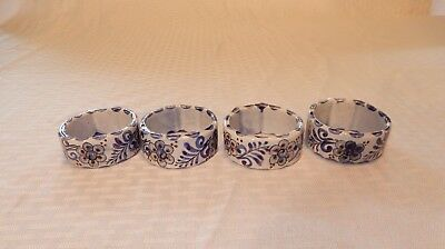Set of 8 vintage hand painted Mexican pottery napkin rings signed CAT MEX 382