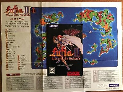 SNES Super Nintendo Lufia II 2 Rise of the Sinistrals NO GAME World Map + Manual