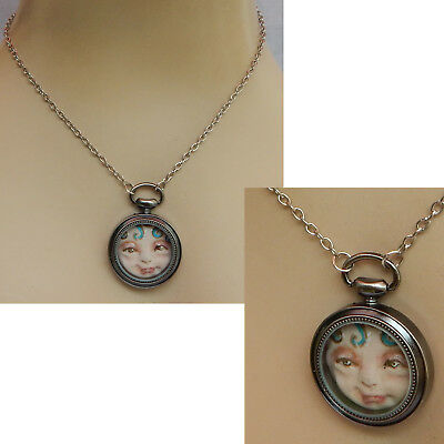Watch Fairy Face Pendant Necklace Handmade OOAK Artist Original Chain Fairies