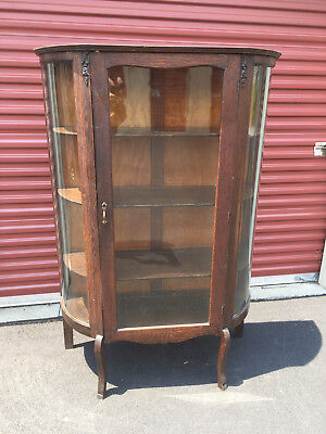 "ANTIQUE ""LARKIN SOAP"" FURNITURE CO. BOW FRONT QUARTER SAWN CABINET w/ 3 SHELVES"
