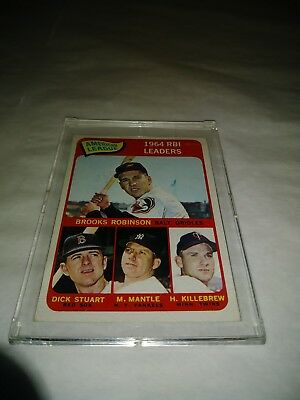 Vintage Topps 1964 Ameican League RBI Leaders Card Mantle Killebrew Robinson