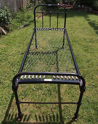 """Antique cast iron bed, """"small single"""" dormitory hospital style kids guest"""