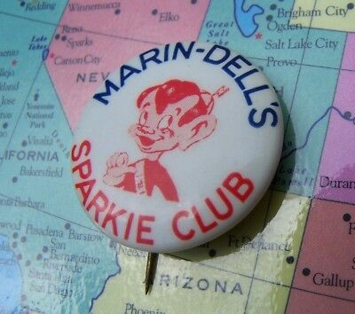 Vintage 1950's Marin Dell's Sparkie Club Button SF Bay Area Radio Show Marin Co.