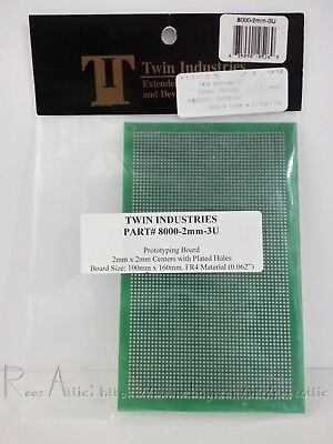 Twin Industries Prototyping Board 8000-2mm-3U: 2mm Plated Holes 100mmx160mm FR4