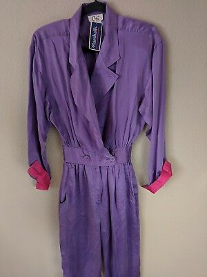 Vtg 80s Cri Small 100% Silk One Piece Jumpsuit Purple NEW WITH TAGS KAWAII #62