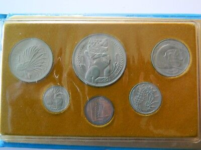 1977 SINGAPORE YEAR OF THE SNAKE SET OF COINS UNC. in folder.
