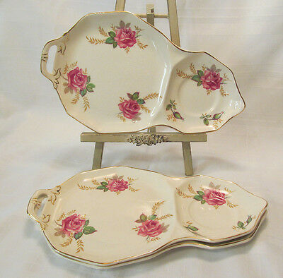 Royal Tudor Ware Barker Brothers England 3 Rose Snack Plates Gold Trim REDUCED!