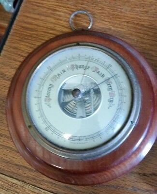 Vintage Round Wooden Barometer -Made in Germany-Stormy/Rain/Change/Fair/Very Dry