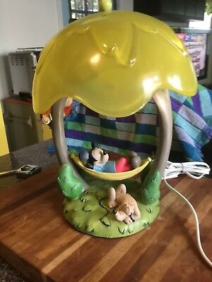 RARE Disney Mickey Mouse Lazy Time in Hammock & Pluto Lamp