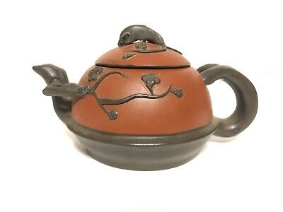 Antique Old Yixing Zisha Clay Terracotta Buccaro Signed Teapot Chinese Floral!