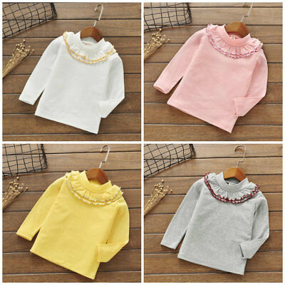 1pc Kids baby Toddler girls tops T shirt girls base shirt  bottoming shirt lace