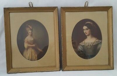 Pair Of Antique Framed Prints Lovely Ladies