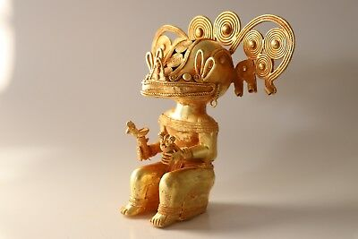 Original Large Colombian Gold-Copper Tairona Tumbaga Mythical Shaman