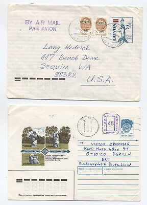 Two Early 1990s Latvia covers stationery [L.154]