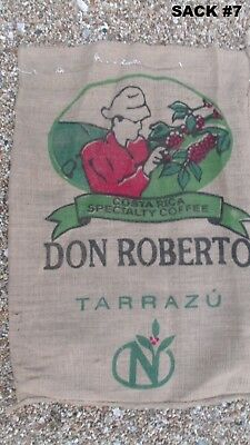 COFFEE BEAN JUTE BURLAP SACK BAG crafts decor vintage costume many countries
