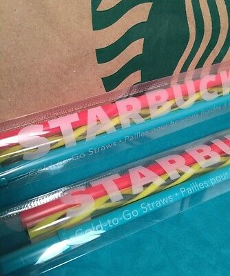 New 2X Starbucks-2016 -Grande Summer Straw Pack For Cold To-Go Tumbler
