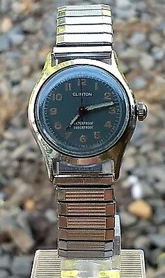 Rare Vintage Clinton Swiss Military Style 17 Jewel Manual Wind Watch Small Case