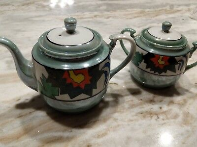 Vintage Japanese hand painted Green Luster Ware Teapot with matching Sugar Bowl