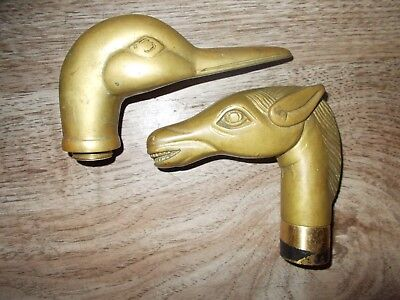 Vintage Heavy SOLID BRASS HORSE HEAD and DUCK HEAD WALKING CANE STICK HANDLE x2