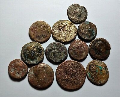 Lot Of 12 Bronze Late Roman City Coins  //491