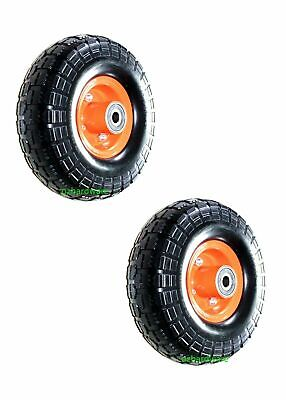 """2x10""""Solid Wheels Trolley Puncture proof Flat Free Tire Tyre 16mm Bore Offset"""