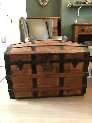 Antique Large Victorian Iron Bound Pine Dome Top Trunk Chest CAN DELIVER