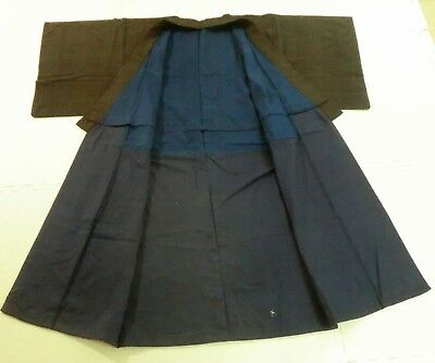 *Antique Japanese Kimono, Silk, Men's Kimono, Dark Brown, Thin Stripe P100173