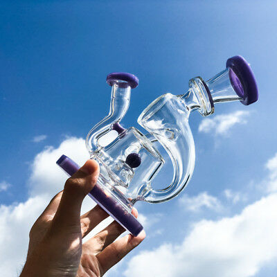 Hookah 8'' Glass Water Pipe with Specialty UFO perc to Recycler 14mm Joint