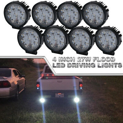 8Pcs 4inch 27W Round Led Work Light Bar Flood Pods Offroad Driving For ATVs Jeep