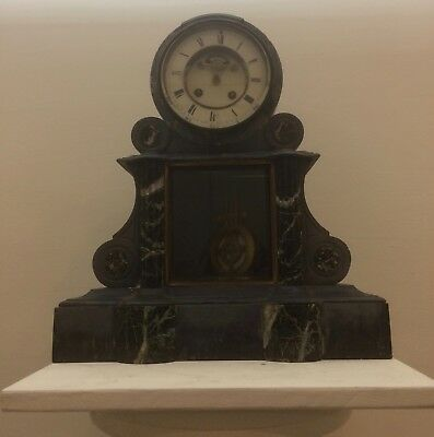 French Vincent Paris Marble And Slate Mantle Clock, Spares Or Repair, No Reserve