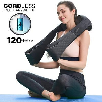 Cordless Shiatsu Neck Shoulder Back Massager Heat Portable Full Body Massage Spa