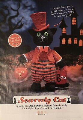 Alan Dart'S 'Scaredy Cat' Halloween Toy Knitting Pattern New